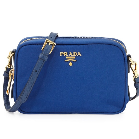 91114cab89a Authentic Prada Tessuto Small Blue Crossbody Bag